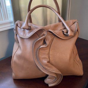 Just Fab Large Camel Shoulder Bag with Ruffle